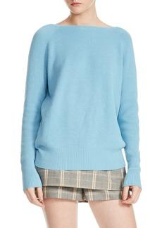 maje Moon Crisscross Back Rib Knit Sweater