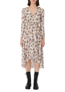 maje Paisley Spot Long Sleeve Satin High/Low Dress