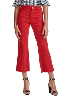 Maje Pamier High Rise Ankle Jeans in Red