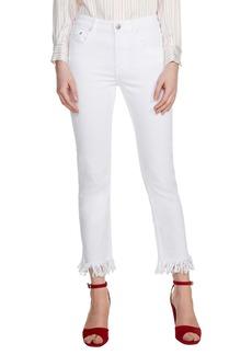maje Panaki Fringe Straight Leg Jeans