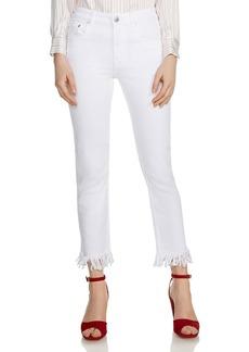 Maje Panaki Skinny Frayed-Hem Ankle Jeans in White