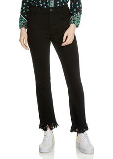 Maje Panako Skinny Frayed-Hem Ankle Jeans in Black