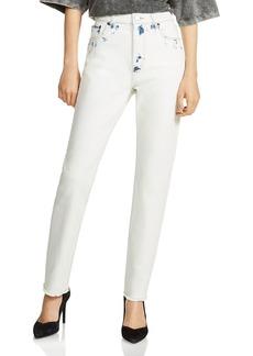 Maje Paoline Tie-Dye Straight-Leg Jeans in White