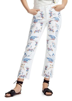 Maje Pia Cropped Floral-Embroidered Straight-Leg Jeans in Multicolor