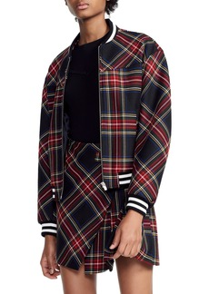 maje Plaid Bomber Wool Blend Jacket