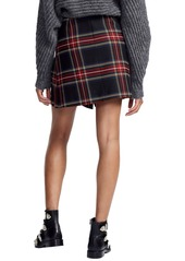 maje Plaid Pleat Skirt