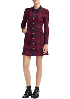 Maje Plaid Tweed Shirtdress