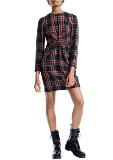 maje Plaid Twist Front Dress