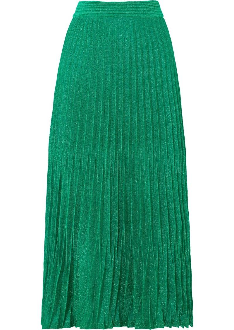 98a6c647b4 Maje Pleated metallic knitted midi skirt