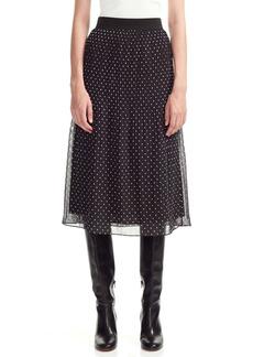 maje Polka Dot Pleated Chiffon Skirt
