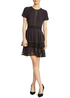 maje Raglia Lace Inset Mini Dress