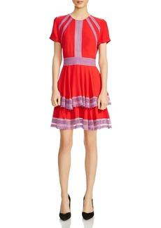 Maje Raglia Tiered Lace-Inset Dress
