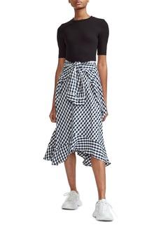 maje Rapri Jersey Bodice & Gingham Skirt Midi Dress