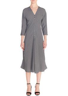maje Rava Mix Stripe Midi Dress