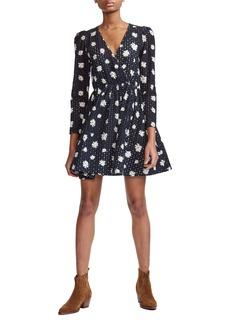 maje Rayom Floral Print Cotton Eyelet Fit & Flare Dress