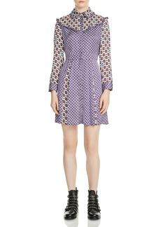 Maje Reed Mixed-Print Silk Dress