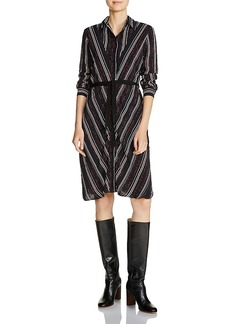Maje Regga Stripe-and-Lettering Print Shirt Dress