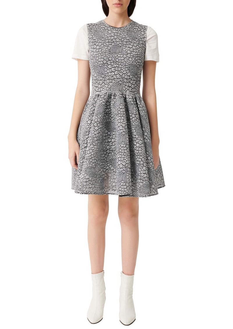 maje Reinatta Sleeveless Floral Jacquard Fit & Flare Dress