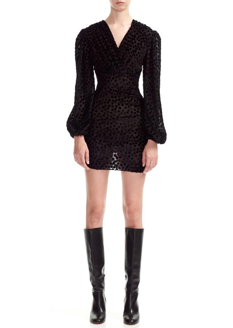 maje Reine Burnout Dot Long Sleeve Minidress