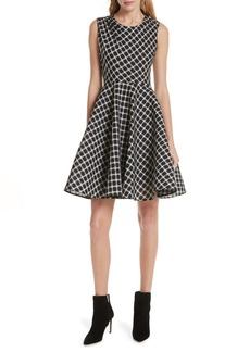 maje Reine Check Plaid Skater Dress