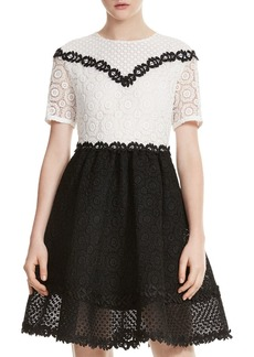 Maje Renald Color-Block Lace Dress
