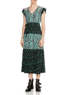 Maje Renoli Mixed Floral-Print Midi Dress