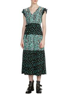 maje Renoli Mixed Print Midi Dress
