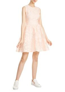 maje Rexrose Floral Appliqué Fit & Flare Dress