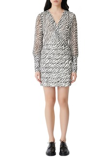 maje Ribane Zebra Print Long Sleeve Minidress