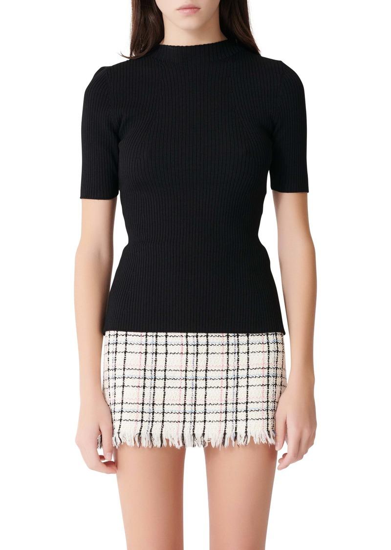 maje Ribbed Tie Back Sweater