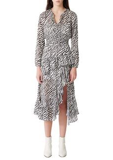 maje Ribou Zebra Print Long Sleeve Dress