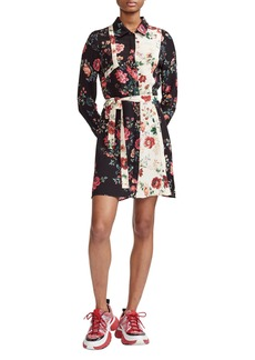 maje Riller Two-Tone Floral Print Shirtdress