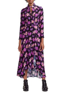 maje Ritunia Shirt Collar Floral Print Maxi Dress