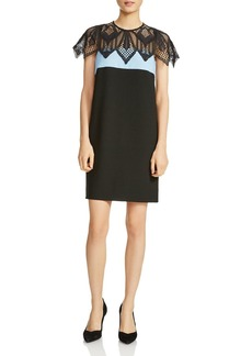Maje Rocaille Color Blocked Lace Overlay Dress
