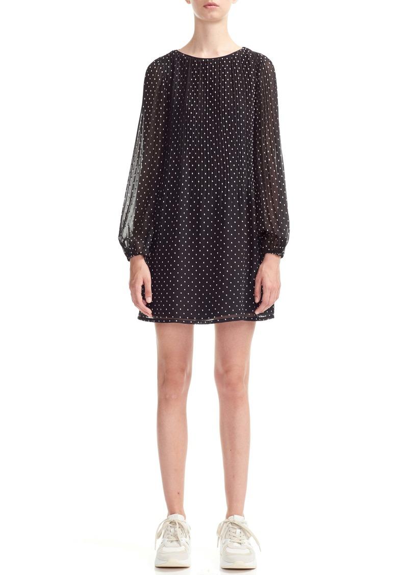 maje Rockito Dot Pattern Long Sleeve Shift Dress