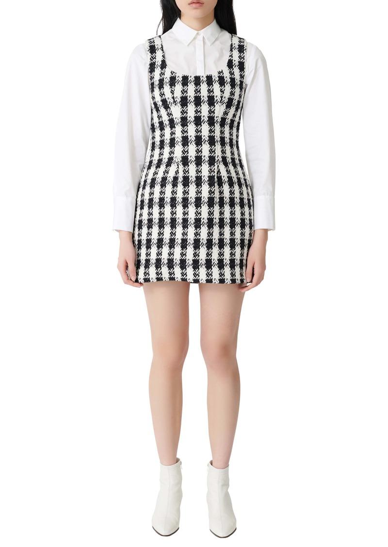 maje Rocky Cotton Blend Tweed Minidress