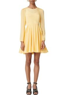 maje Roseau Long Sleeve Fit & Flare Dress