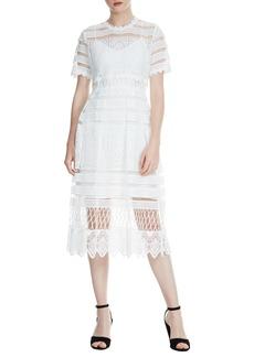 maje Roseray Lace Midi Dress