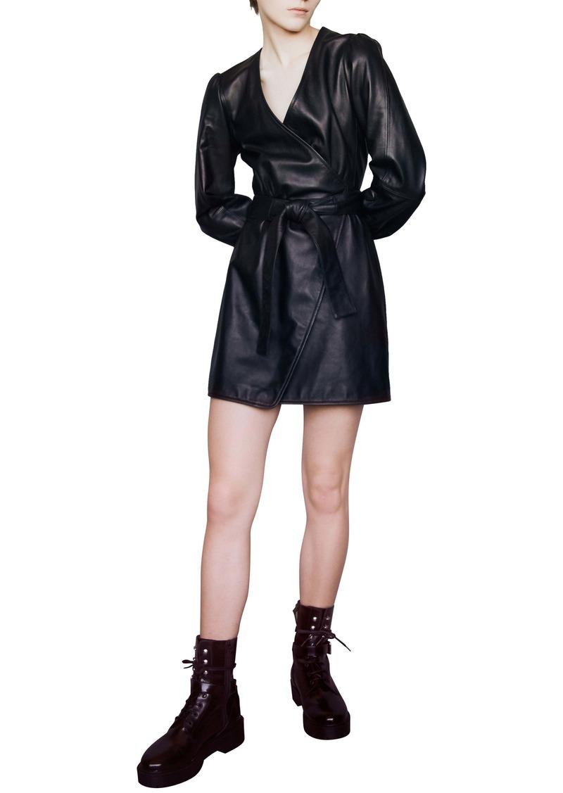 maje Rosetola Long Sleeve Leather Wrap Dress