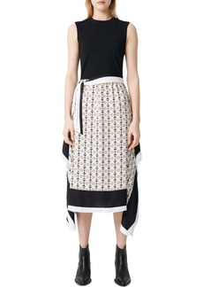 maje Rosy Scarf Print Midi Dress