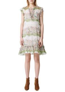 maje Ruffle Metallic Silk Dress