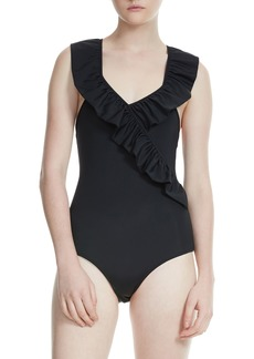 maje Ruffle One-Piece Swimsuit
