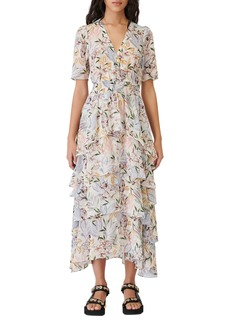 maje Ruffle Smocked Maxi Dress