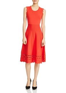Maje Rumba Perforated Knit Midi Dress