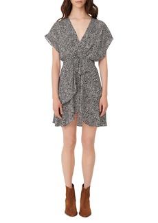 maje Snakeskin Print Drape Detail Dress