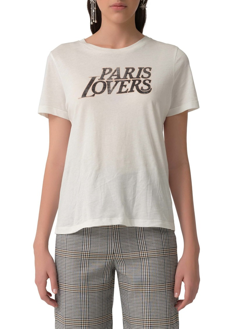 maje Terencia Paris Lovers Graphic Cotton Tee