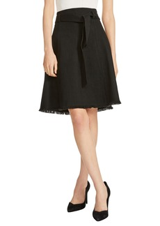 maje Tie Waist Stretch Cotton A-Line Skirt