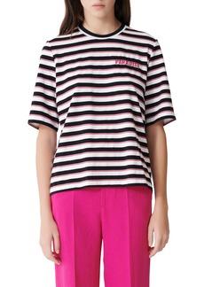 maje Tiffany Glitter Stripe Paradise Cotton Blend Top