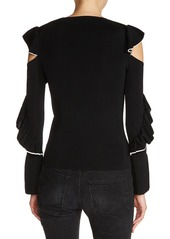 maje Tipped Ruffle Sleeve Sweater