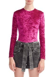 maje Tipy Crushed Velvet Bodysuit